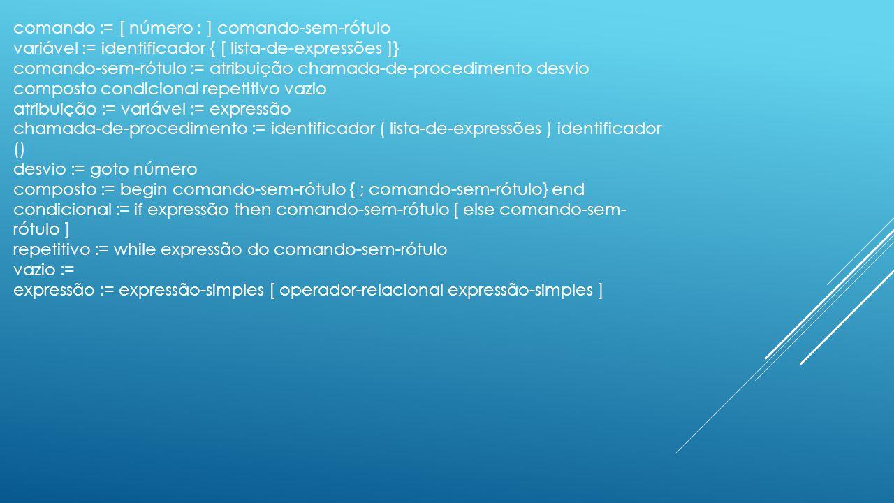 comando := [ número : ] comando-sem-rótulo